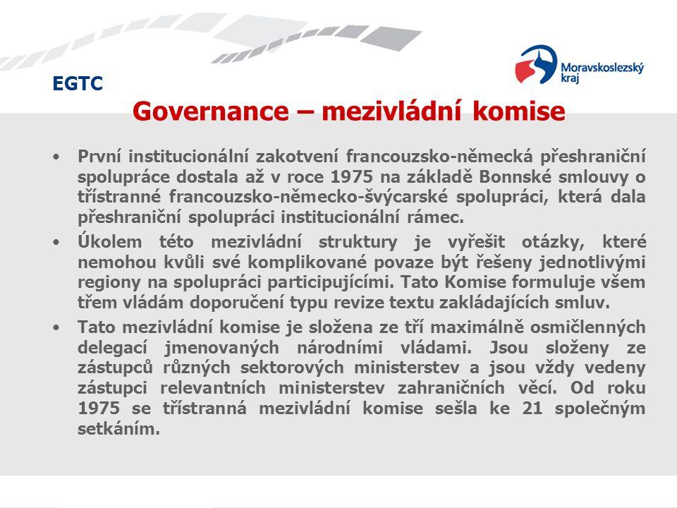 EGTC Governance – mezivládní komise První institucionální zakotvení francouzsko-německá přeshraniční spolupráce dostala až v roce 1975 na základě Bonn