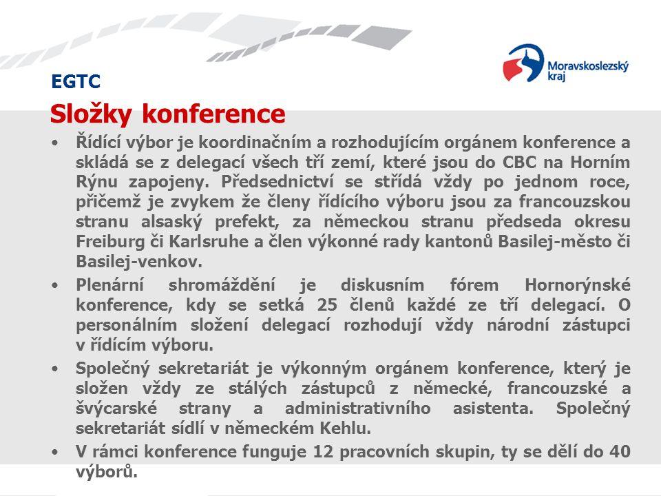 EGTC Složky konference Řídící výbor je koordinačním a rozhodujícím orgánem konference a skládá se z delegací všech tří zemí, které jsou do CBC na Horn