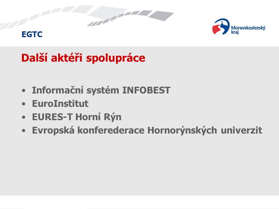 EGTC Další aktéři spolupráce Informační systém INFOBEST EuroInstitut EURES-T Horní Rýn Evropská konferederace Hornorýnských univerzit
