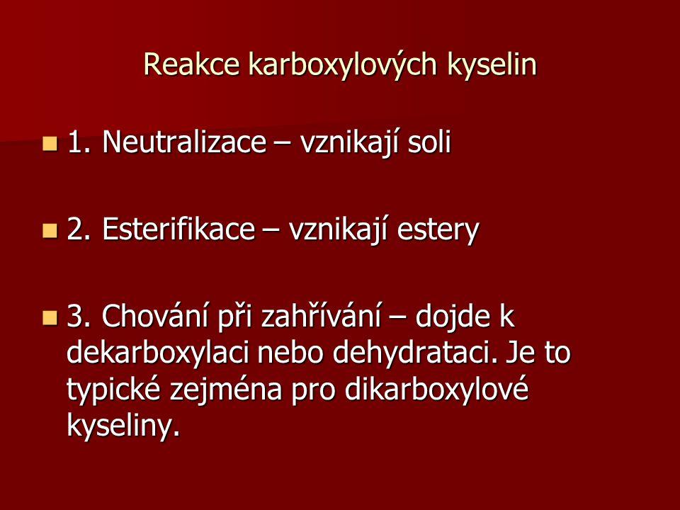 Reakce karboxylových kyselin 1. Neutralizace – vznikají soli 1. Neutralizace – vznikají soli 2. Esterifikace – vznikají estery 2. Esterifikace – vznik
