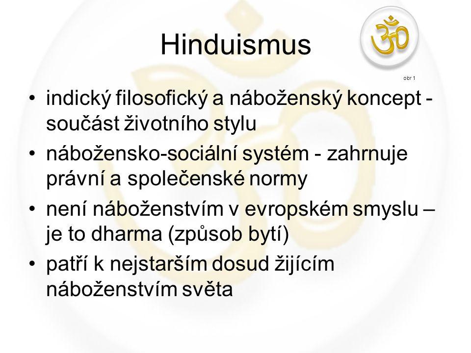 Hinduismus indický filosofický a náboženský koncept - součást životního stylu nábožensko-sociální systém - zahrnuje právní a společenské normy není ná