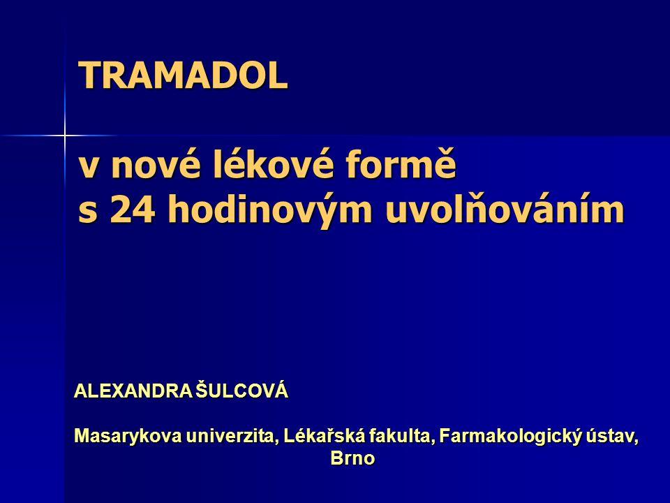 TRAMADOL syntetický derivát opioidu kodeinu syntetický derivát opioidu kodeinu (metabolit antidepresiva trazodonu) (metabolit antidepresiva trazodonu) hydrochlorid tramadolu hydrochlorid tramadolu (racemická forma 2 enantiomerů) (racemická forma 2 enantiomerů) 1977 – dosud : ve více než 100 zemích (Shipton, 2000)