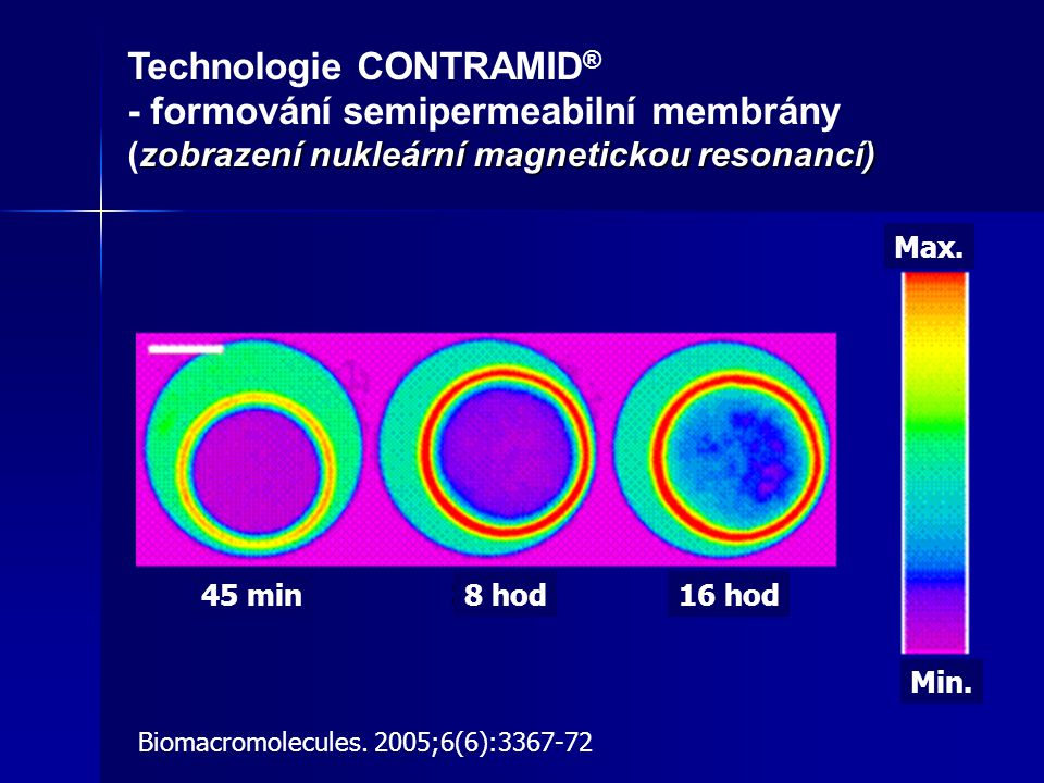 léčivo vázáno v síťově uspořádáné amylóze (CONTRAMID®, Labopharm, US Patent) vnější vrstva amylózového jádra formuje semipermeabilní membránu, prodlužující a zpomalující působení tekutin na rozpouštění léčiva amylózové jádro v GIT bobtná, povrch se stává gelovitým a porézním → → z něj relativně konstantní uvolňování léčiva