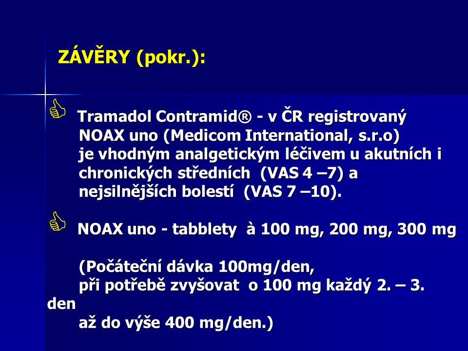 ZÁVĚRY (pokr.):  Tramadol Contramid® - v ČR registrovaný NOAX uno (Medicom International, s.r.o) NOAX uno (Medicom International, s.r.o) je vhodným a