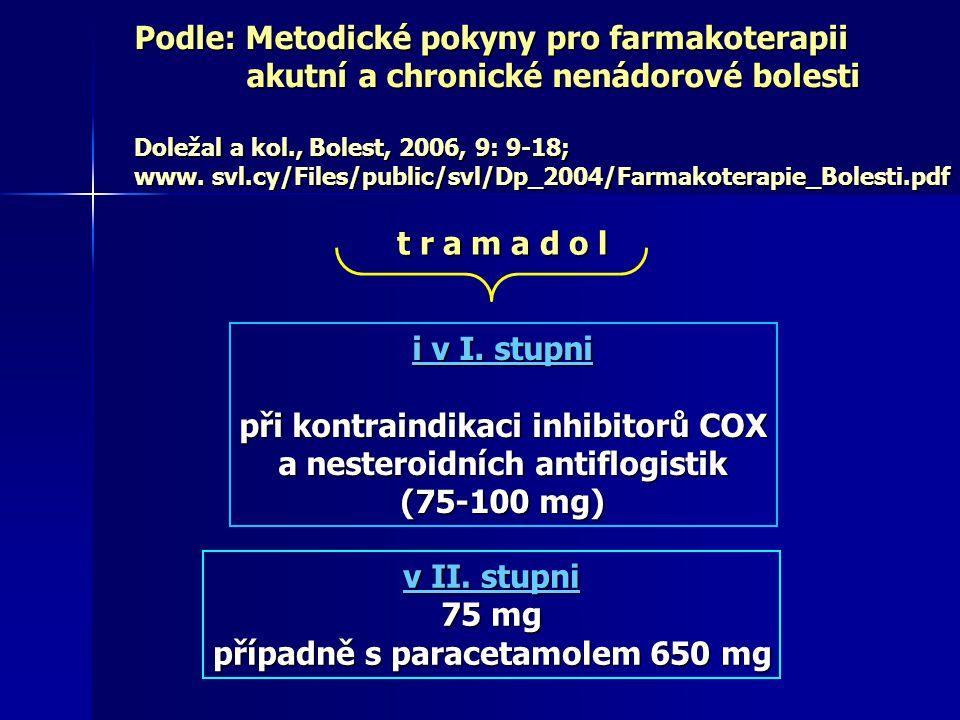 HYDROCHLORID TRAMADOLU (= racemická směs 2 enantiomerů) oba enantiomery i M1 (O-desmetyltramadol) jsou analgeticky účinné jsou analgeticky účinné (+) enantiomer - selektivní ligand μ opioidních receptorů, - selektivní ligand μ opioidních receptorů, ale jen s nízkou afinitou (10x nižší než kodein) ale jen s nízkou afinitou (10x nižší než kodein) - inhibitor reuptaku 5-HT - inhibitor reuptaku 5-HT (-) enantiomer - podporuje uvolňování noradenalinu (NA) - podporuje uvolňování noradenalinu (NA) - inhibitor reuptaku NA - inhibitor reuptaku NA M1 M1 = A + B Raffa a kol., 1995; Scott a kol., 2000; Cnota a kol., 2005