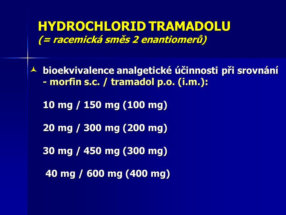 HYDROCHLORID TRAMADOLU (= racemická směs 2 enantiomerů) nežádoucí účinky ( Arfken a Cicero, 2003; Mongin a kol., 2004 ) ( Arfken a Cicero, 2003; Mongin a kol., 2004 ) - nízký potenciál závislosti, abstinenční sy.