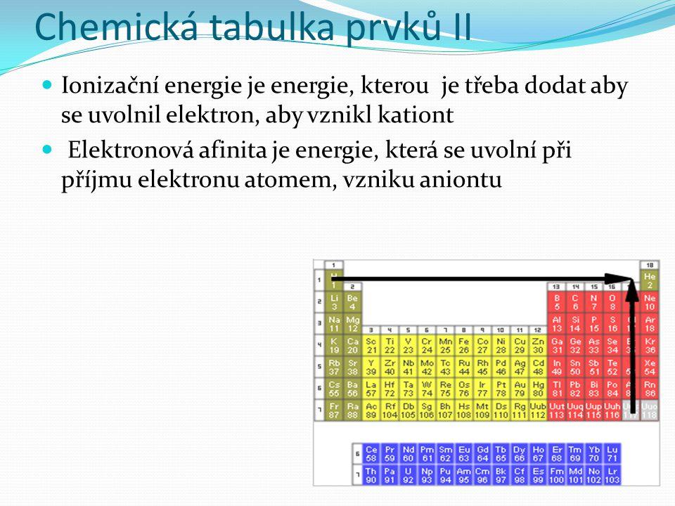 Chemická tabulka prvků II Ionizační energie je energie, kterou je třeba dodat aby se uvolnil elektron, aby vznikl kationt Elektronová afinita je energie, která se uvolní při příjmu elektronu atomem, vzniku aniontu
