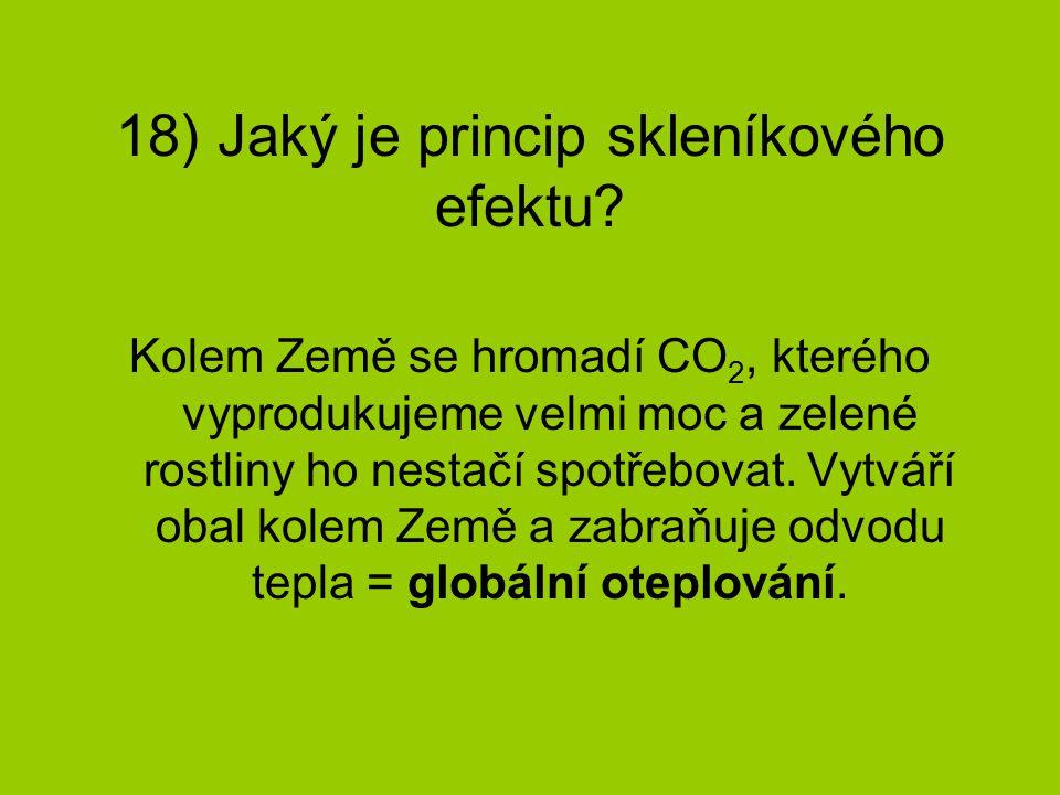 18) Jaký je princip skleníkového efektu? Kolem Země se hromadí CO 2, kterého vyprodukujeme velmi moc a zelené rostliny ho nestačí spotřebovat. Vytváří