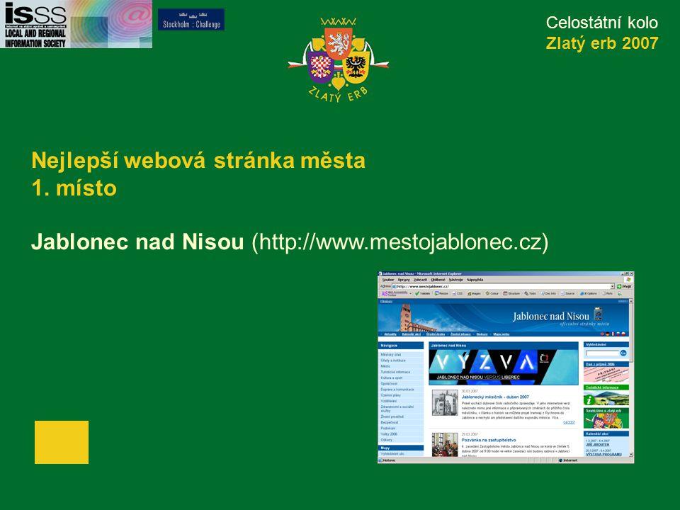 Celostátní kolo Zlatý erb 2007 Nejlepší webová stránka města 1.