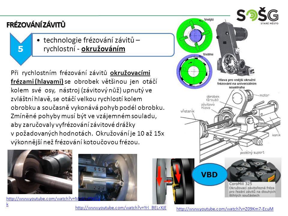 6 technologie frézování závitů – rychlostní – stopkovými frézami – vnitřní závit FRÉZOVÁNÍ ZÁVITŮ Je moderní způsob výroby, velmi produktivní s předvrtáním nebo bez předvrtávání díry, závitník rotuje a zároveň se otáčí kolem osy závitu a posouvá, tak že za jednu otáčku se posune o jedno stoupání závitu http://www.youtube.com/watch?v=0YscIt0Zl_o