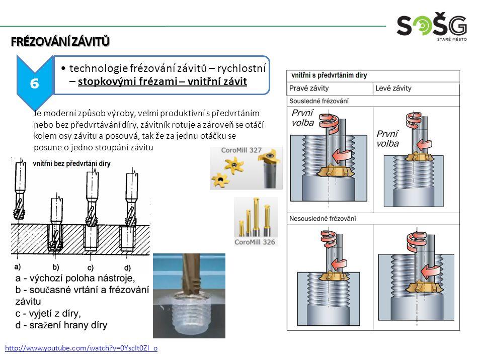 FRÉZOVÁNÍ ZÁVITŮ 7 technologie frézování závitů – rychlostní stopkovými frézami – vnější závit http://www.youtube.com/watch?v=4qtTtaUJsVk Frézování závitů se provádí pomocí rotačního nástroje pohybujícího se po kruhové sestupné dráze.