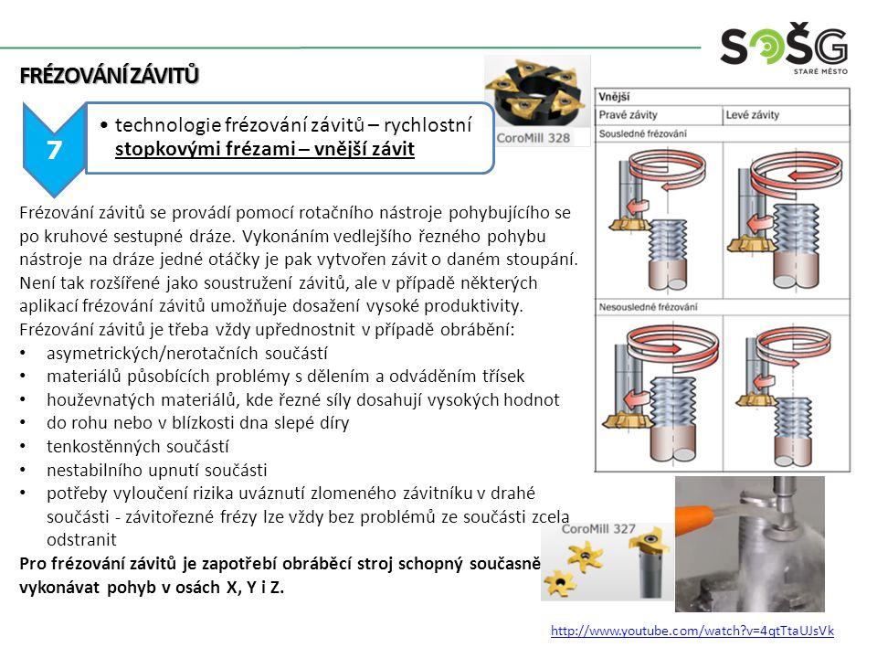 FRÉZOVÁNÍ ZÁVITŮ 7 technologie frézování závitů – rychlostní stopkovými frézami – vnější závit http://www.youtube.com/watch?v=4qtTtaUJsVk Frézování zá