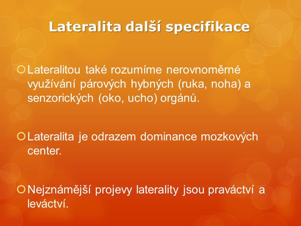 Lateralita další specifikace  Lateralitou také rozumíme nerovnoměrné využívání párových hybných (ruka, noha) a senzorických (oko, ucho) orgánů.  Lat