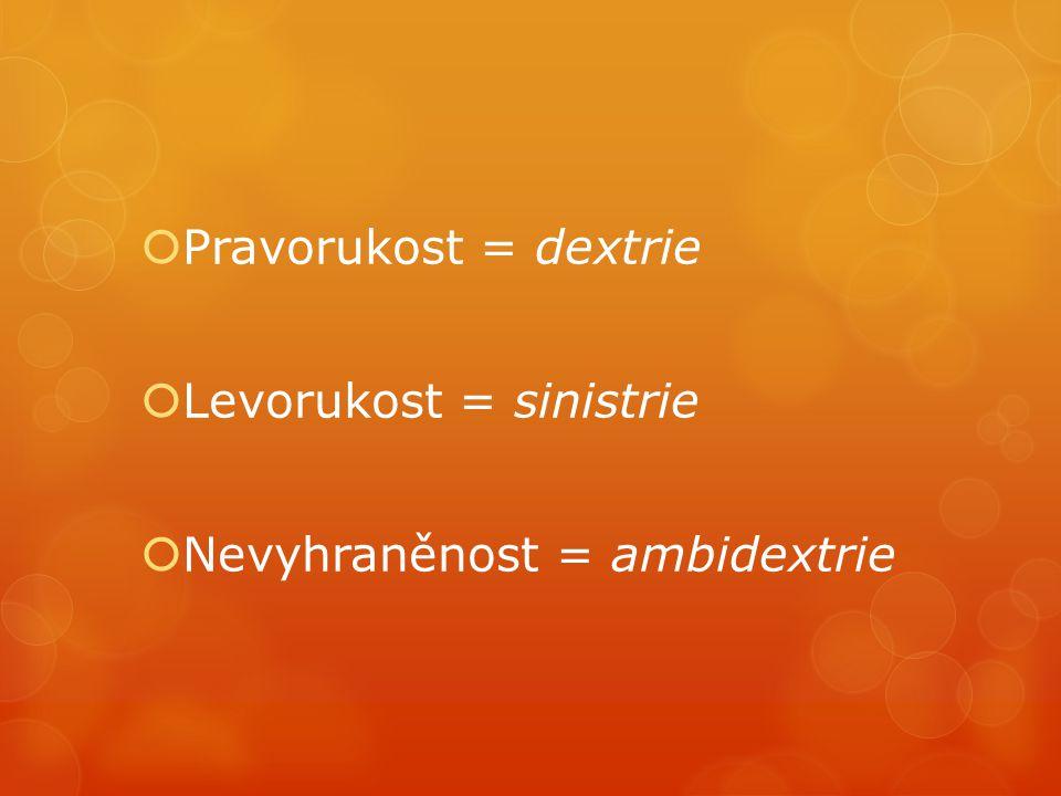  Pravorukost = dextrie  Levorukost = sinistrie  Nevyhraněnost = ambidextrie