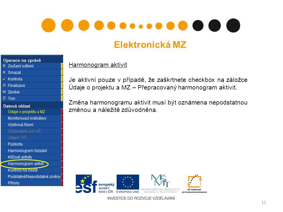 11 Elektronická MZ Harmonogram aktivit Je aktivní pouze v případě, že zaškrtnete checkbox na záložce Údaje o projektu a MZ – Přepracovaný harmonogram aktivit.