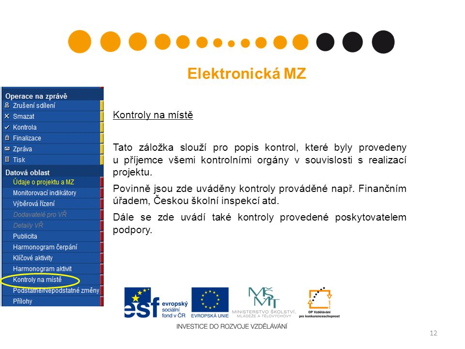 12 Elektronická MZ Kontroly na místě Tato záložka slouží pro popis kontrol, které byly provedeny u příjemce všemi kontrolními orgány v souvislosti s realizací projektu.