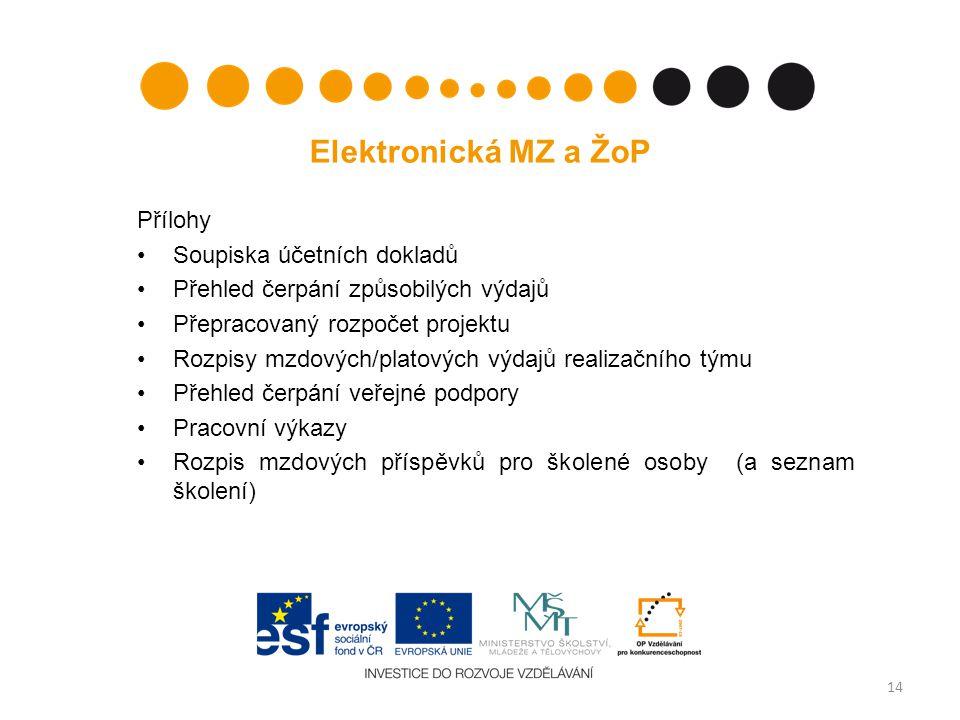 14 Elektronická MZ a ŽoP Přílohy Soupiska účetních dokladů Přehled čerpání způsobilých výdajů Přepracovaný rozpočet projektu Rozpisy mzdových/platovýc