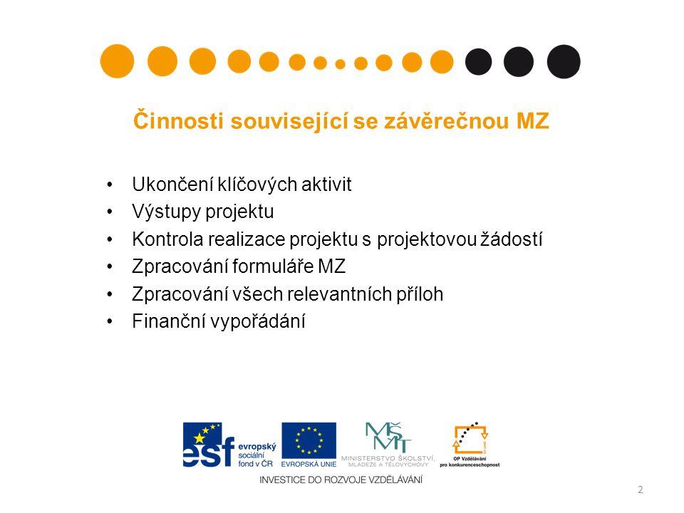 Činnosti související se závěrečnou MZ Ukončení klíčových aktivit Výstupy projektu Kontrola realizace projektu s projektovou žádostí Zpracování formuláře MZ Zpracování všech relevantních příloh Finanční vypořádání 2