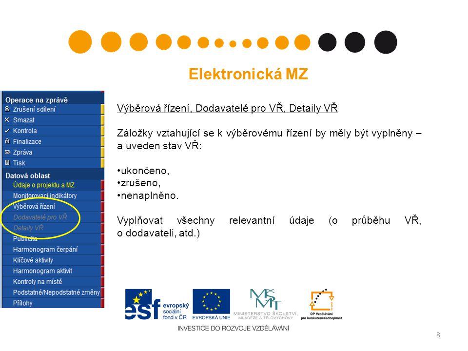 8 Elektronická MZ Výběrová řízení, Dodavatelé pro VŘ, Detaily VŘ Záložky vztahující se k výběrovému řízení by měly být vyplněny – a uveden stav VŘ: ukončeno, zrušeno, nenaplněno.