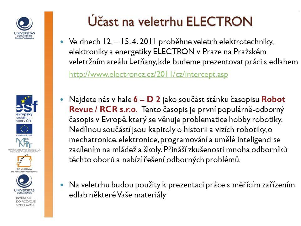 Účast na veletrhu ELECTRON Ve dnech 12. – 15. 4.