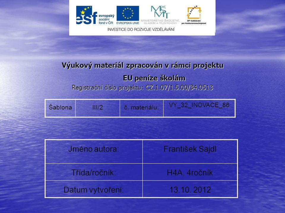 Výukový materiál zpracován v rámci projektu EU peníze školám EU peníze školám Registrační číslo projektu: CZ.1.07/1.5.00/34.0513 ŠablonaIII/2č. materi