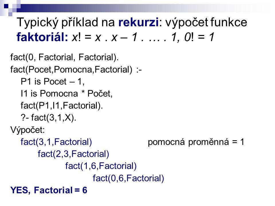 Typický příklad na rekurzi: výpočet funkce faktoriál: x.