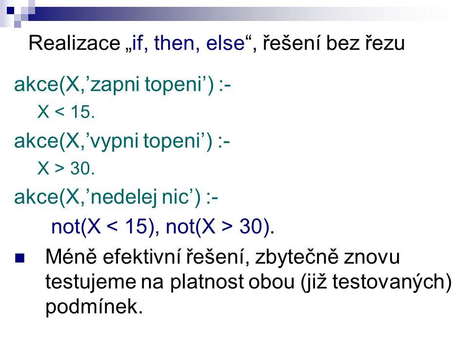 """Realizace """"if, then, else , řešení bez řezu akce(X,'zapni topeni') :- X < 15."""