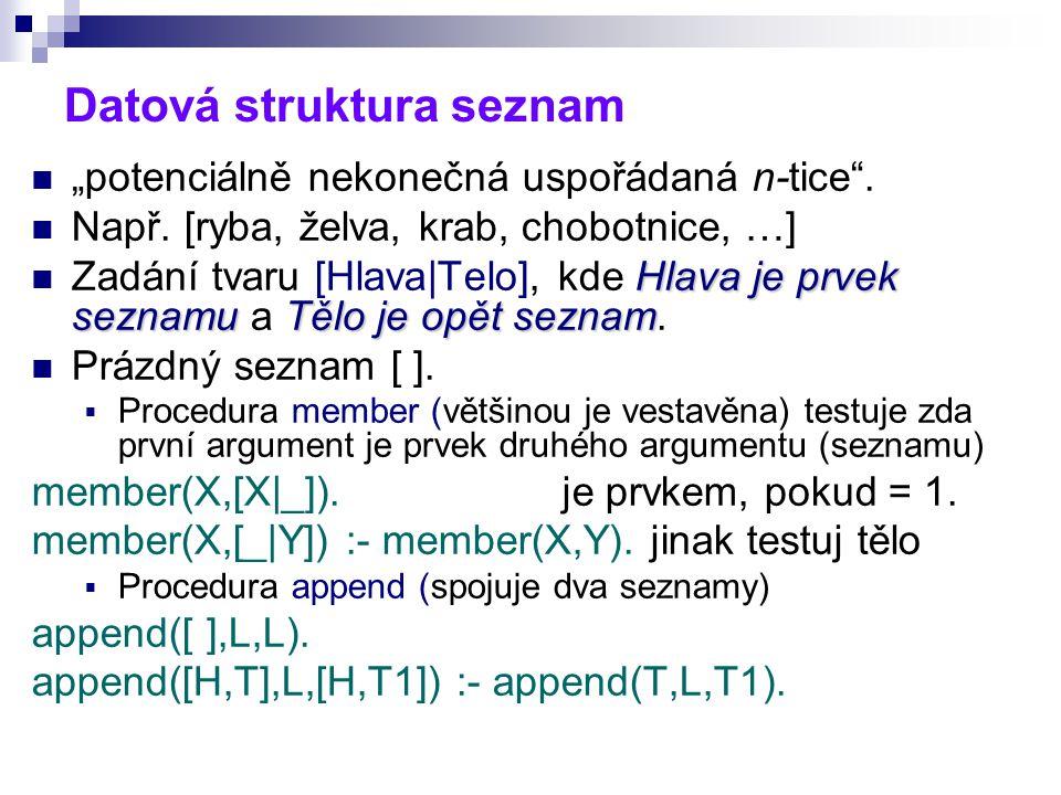 """Datová struktura seznam """"potenciálně nekonečná uspořádaná n-tice ."""