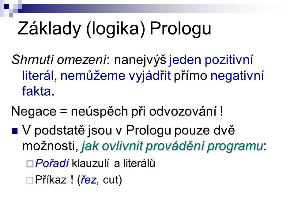 Základy (logika) Prologu Shrnutí omezení: nanejvýš jeden pozitivní literál, nemůžeme vyjádřit přímo negativní fakta.