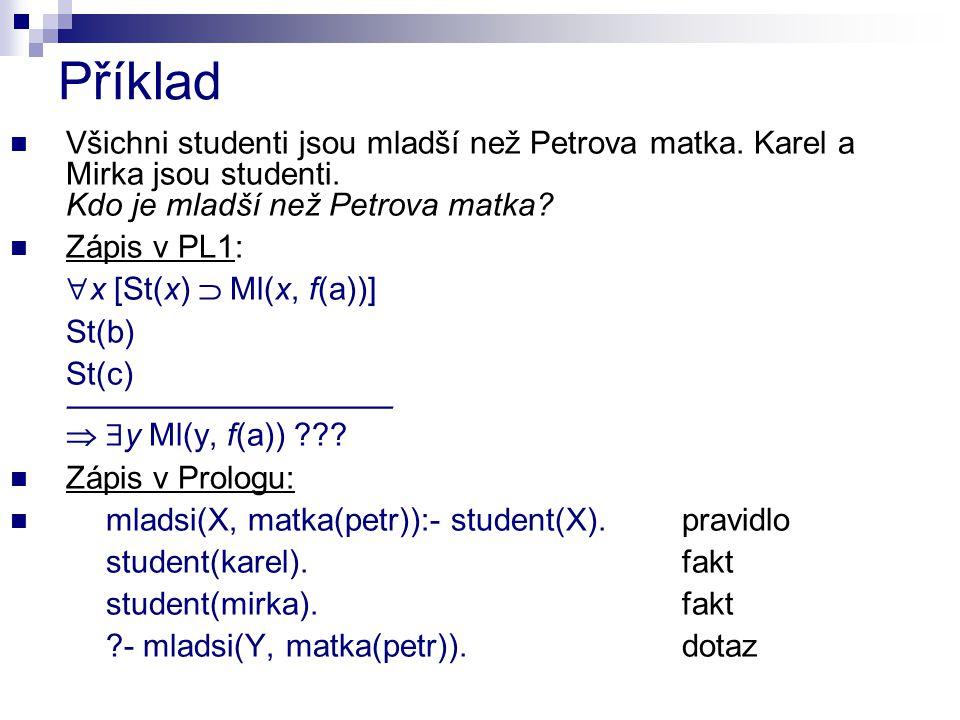 Příklad Všichni studenti jsou mladší než Petrova matka.