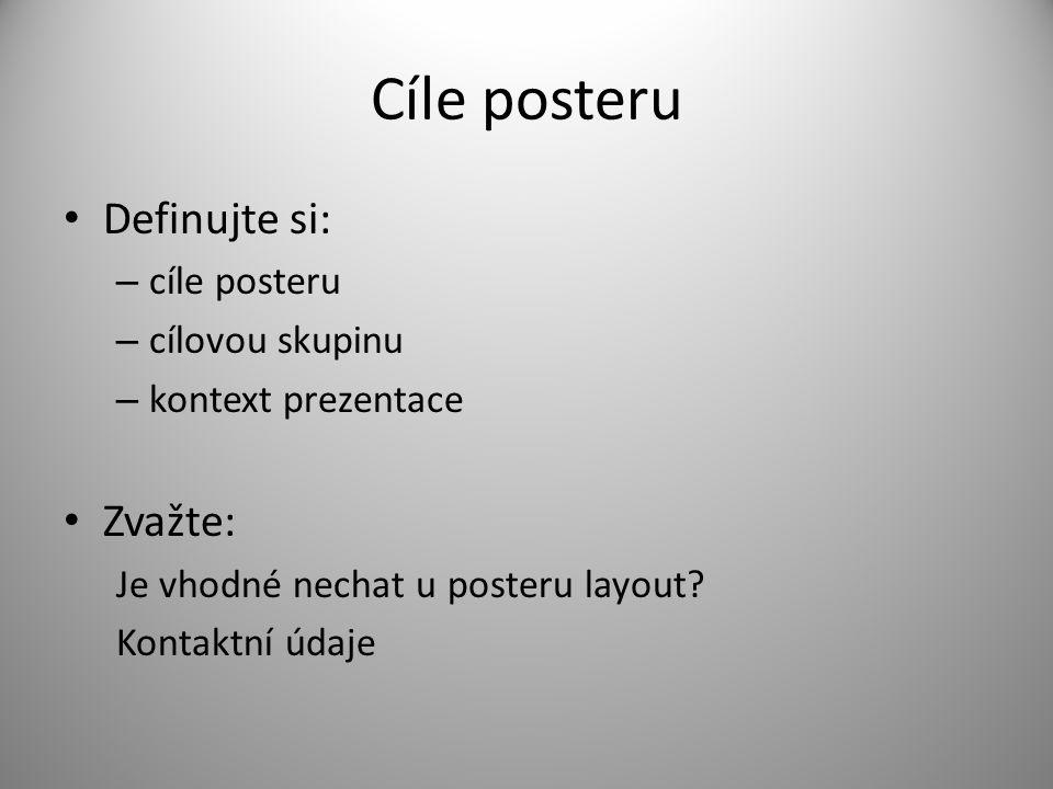 Cíle posteru Definujte si: – cíle posteru – cílovou skupinu – kontext prezentace Zvažte: Je vhodné nechat u posteru layout? Kontaktní údaje