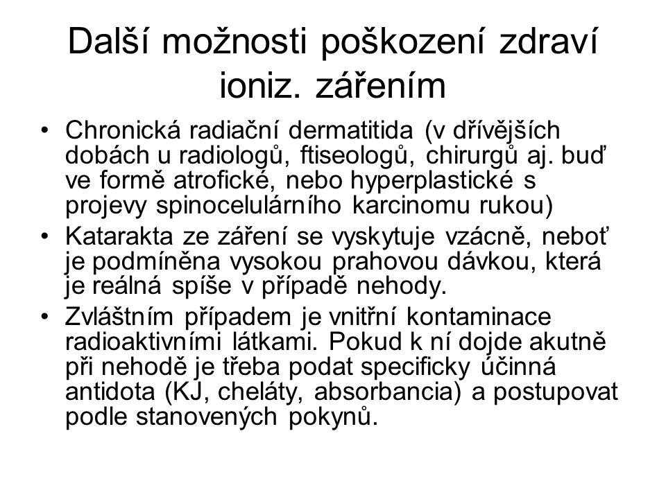 Další možnosti poškození zdraví ioniz. zářením Chronická radiační dermatitida (v dřívějších dobách u radiologů, ftiseologů, chirurgů aj. buď ve formě