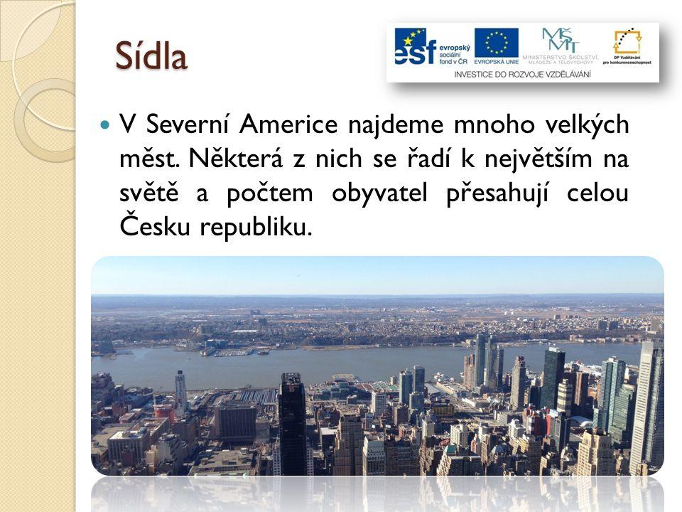 Sídla V Severní Americe najdeme mnoho velkých měst. Některá z nich se řadí k největším na světě a počtem obyvatel přesahují celou Česku republiku.