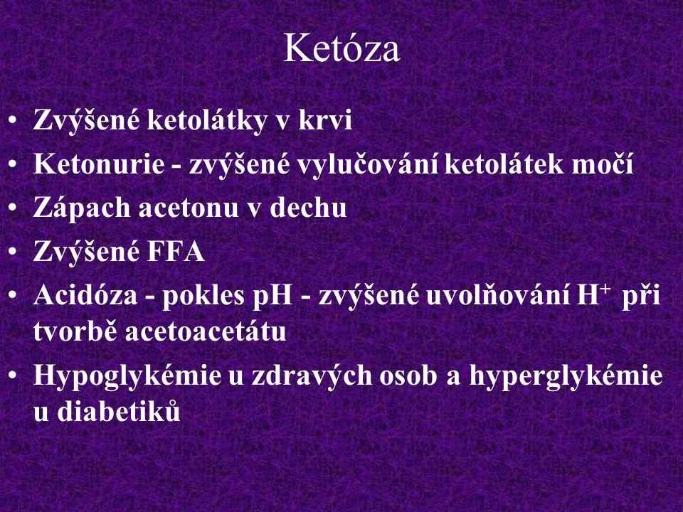 Ketóza Zvýšené ketolátky v krvi Ketonurie - zvýšené vylučování ketolátek močí Zápach acetonu v dechu Zvýšené FFA Acidóza - pokles pH - zvýšené uvolňov