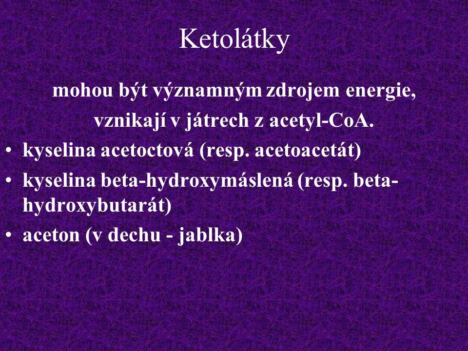 Ketolátky mohou být významným zdrojem energie, vznikají v játrech z acetyl-CoA. kyselina acetoctová (resp. acetoacetát) kyselina beta-hydroxymáslená (