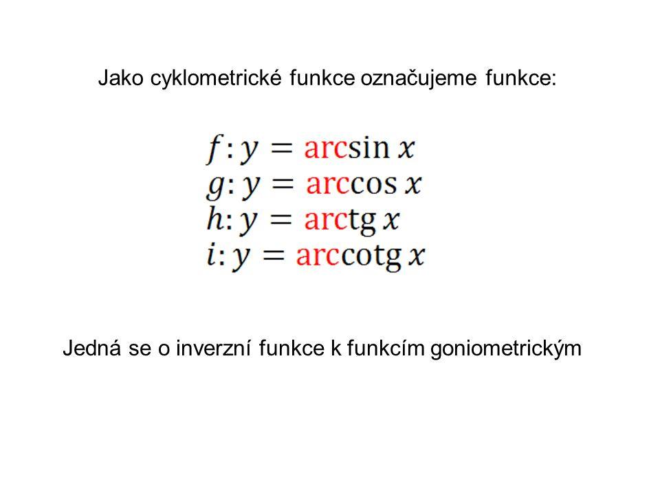 Jako cyklometrické funkce označujeme funkce: Jedná se o inverzní funkce k funkcím goniometrickým