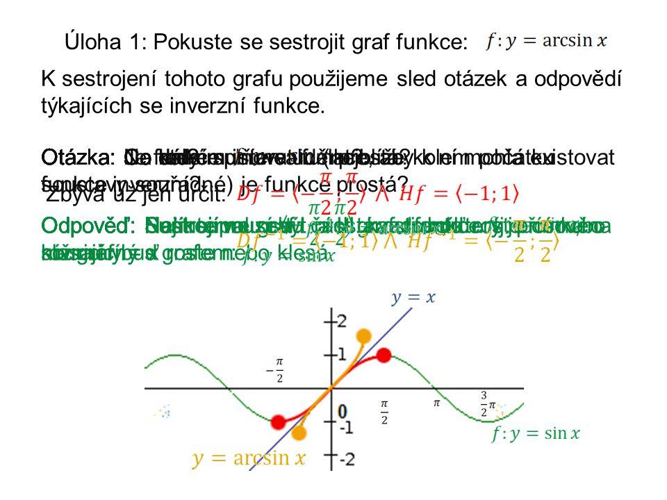 Úloha 1: Pokuste se sestrojit graf funkce: K sestrojení tohoto grafu použijeme sled otázek a odpovědí týkajících se inverzní funkce.