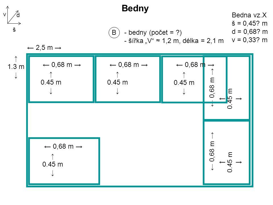 """B - bedny (počet = ) - šířka """"V ≈ 1,2 m, délka = 2,1 m Bedny d š v ← 2,5 m → ↑ 1.3 m ↓ Bedna vz.X š = 0,45."""