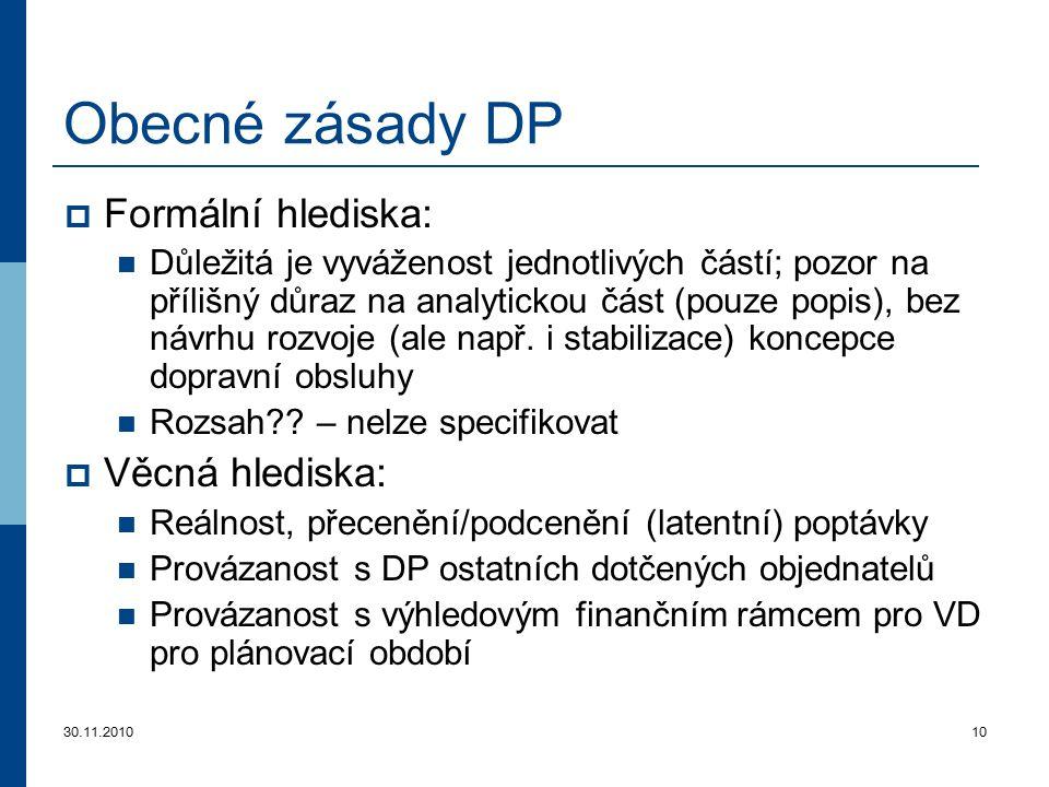 30.11.201010 Obecné zásady DP  Formální hlediska: Důležitá je vyváženost jednotlivých částí; pozor na přílišný důraz na analytickou část (pouze popis