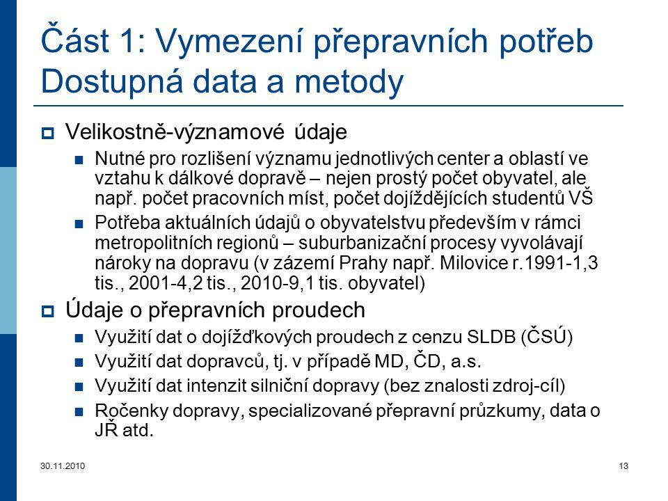 30.11.201013 Část 1: Vymezení přepravních potřeb Dostupná data a metody  Velikostně-významové údaje Nutné pro rozlišení významu jednotlivých center a