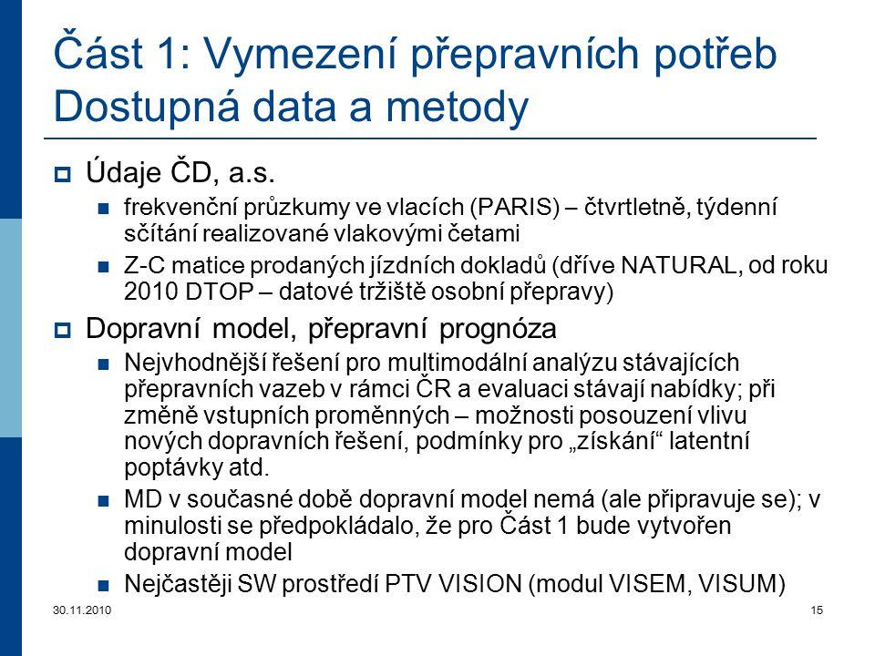 30.11.201015 Část 1: Vymezení přepravních potřeb Dostupná data a metody  Údaje ČD, a.s. frekvenční průzkumy ve vlacích (PARIS) – čtvrtletně, týdenní