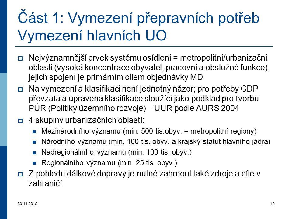 30.11.201016 Část 1: Vymezení přepravních potřeb Vymezení hlavních U O  Nejvýznamnější prvek systému osídlení = metropolitní/urbanizační oblasti (vys