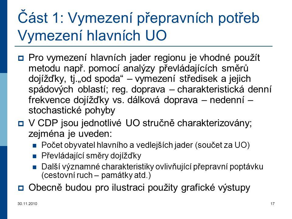 30.11.201017 Část 1: Vymezení přepravních potřeb Vymezení hlavních U O  Pro vymezení hlavních jader regionu je vhodné použít metodu např. pomocí anal