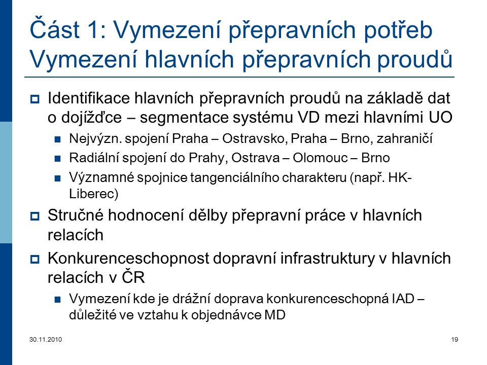 30.11.201019 Část 1: Vymezení přepravních potřeb Vymezení hlavních přepravních proudů  Identifikace hlavních přepravních proudů na základě dat o dojí