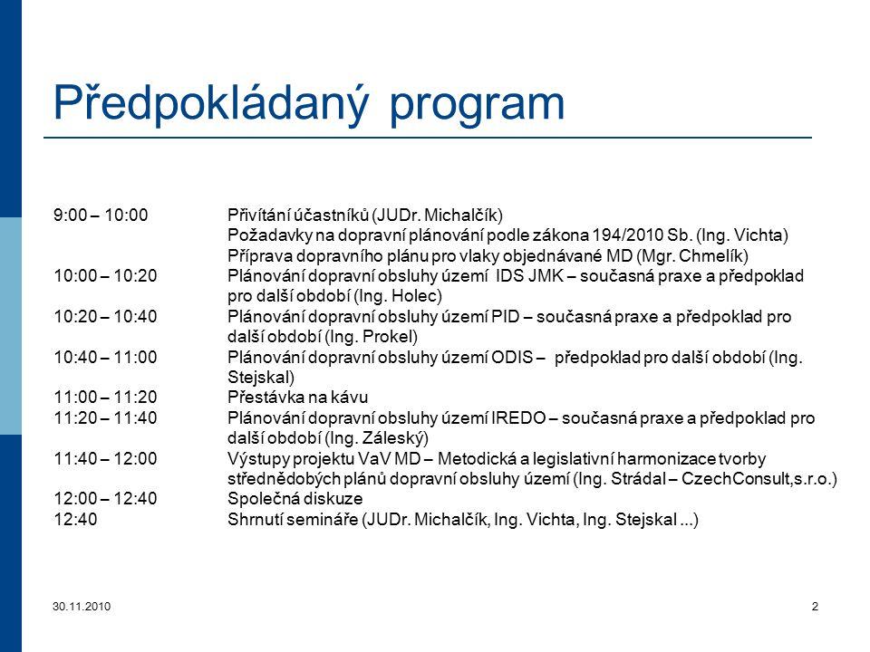 30.11.20102 Předpokládaný program 9:00 – 10:00Přivítání účastníků (JUDr. Michalčík) Požadavky na dopravní plánování podle zákona 194/2010 Sb. (Ing. Vi