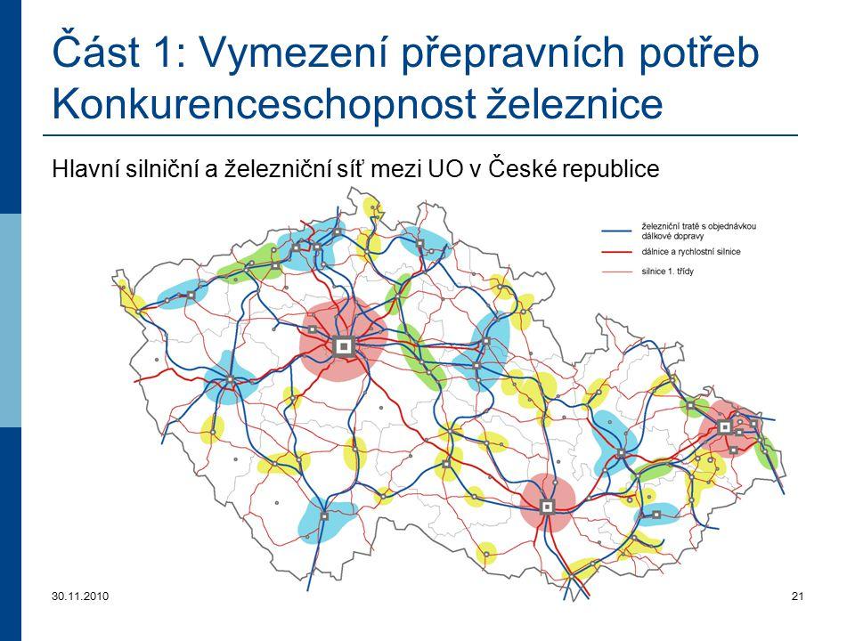 30.11.201021 Část 1: Vymezení přepravních potřeb Konkurenceschopnost železnice Hlavní silniční a železniční síť mezi UO v České republice
