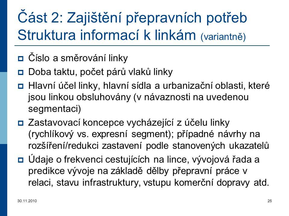 30.11.201025 Část 2: Zajištění přepravních potřeb Struktura informací k linkám (variantně)  Číslo a směrování linky  Doba taktu, počet párů vlaků li