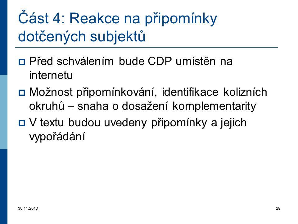 30.11.201029 Část 4 : Reakce na připomínky dotčených subjektů  Před schválením bude CDP umístěn na internetu  Možnost připomínkování, identifikace k