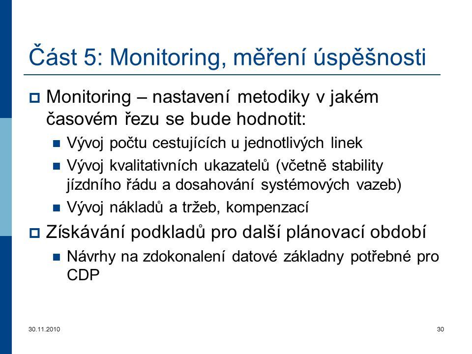 30.11.201030 Část 5 : Monitoring, měření úspěšnosti  Monitorin g – nastavení metodiky v jakém časovém řezu se bude hodnotit: Vývoj počtu cestujících