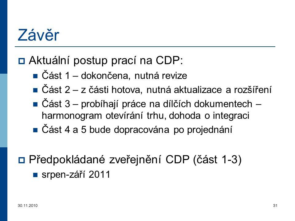 30.11.201031 Závěr  Aktuální postup prací na CDP: Část 1 – dokončena, nutná revize Část 2 – z části hotova, nutná aktualizace a rozšíření Část 3 – pr